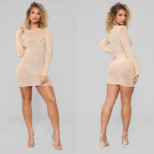 Fashion Nova Mini Nude Diamond Sexy Dress